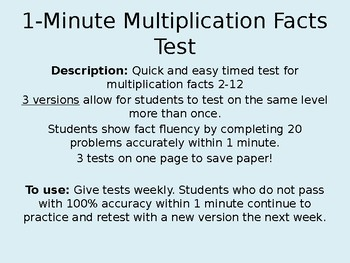 1-Minute Timed Multiplication Facts Test