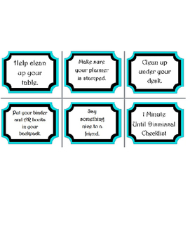 1 Minute Until Dismissal Checklist Signs