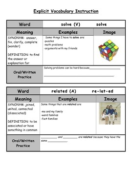 1 Month of Weekly Vocabulary Instruction Grids