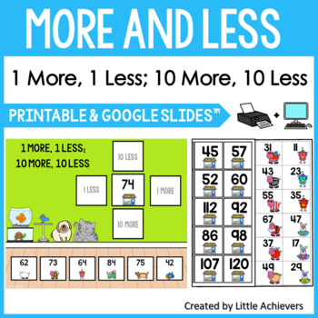 1 More 1 Less 10 More 10 Less Cards Activity