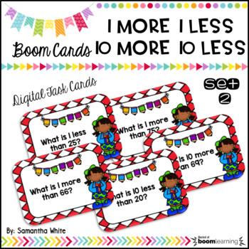 1 More, 1 Less, 10 More, 10 Less BOOM Cards Set 2 {Digital Task Cards}