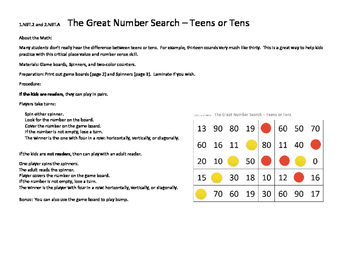 1.NBT.2 and 2.NBT.A The Great Number Search Teens or Tens