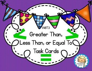 1.NBT.3 FREEBIE Greater Than, Less Than, Equal To Task Cards Sample