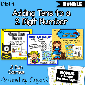 1.NBT.4 Adding Tens to a 2 Digit Number Bundle