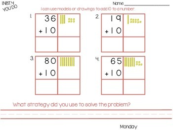 1.NBT.4 Adding a Two-Digit Number and a Multiple of Ten