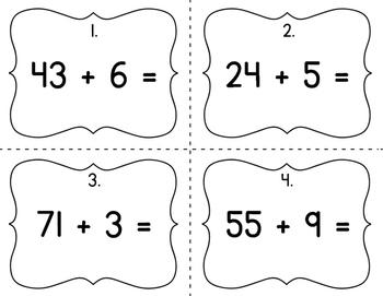 1.NBT.4 Common Core Math Activity: 2-digit + 1-digit Addition Scoot