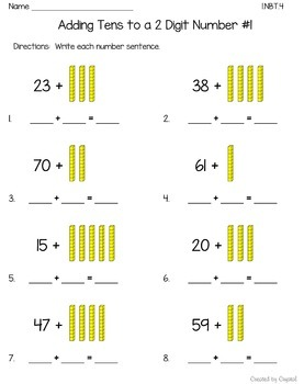 1.NBT.4 and 1.NBT.6 Adding and Subtracting Tens from a 2 Digit Number BIG Bundle