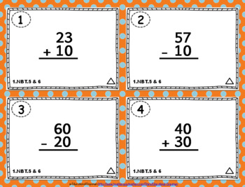 1.NBT.5 & 1.NBT.6 Task Cards: Adding and Subtracting Multiples of Ten Task Cards