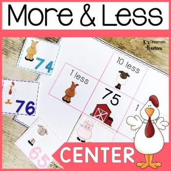 1.NBT.5 Ten More and Ten Less Math Game Farm Theme