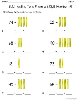 1.NBT.6 Subtracting Tens from a 2 Digit Number Bundle