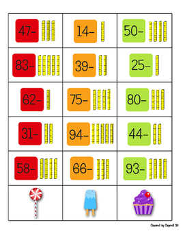 1.NBT.6 Subtracting Tens from a 2 Digit Number Candy Land