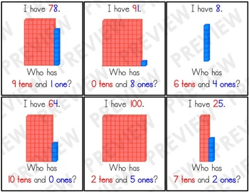 1.NBT.B.2 I Have, Who Has: Place Value (Tens and Ones)
