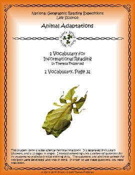 1 NGRE Animal Adaptations - Vocabulary, p31