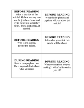 1 Newspaper Question Cards and Directions for Newspaper Center