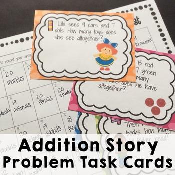 1 O.A. 1.1 Addition Story Problem Task Cards