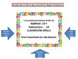 1.OA.6: Add and Subtract Within 20  (10 + and -10) Classroom Drills