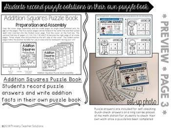 1.OA.6 Addition Squares Puzzles Fact Fluency Sums to 10
