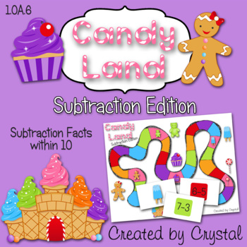 1.OA.6 Candy Land Subtraction Edition (facts within 10)