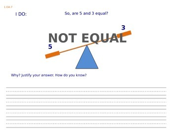 1.OA.7 Teaching the Equal Sign with Assessments (multiple choice).