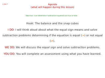 1.OA.7 The Equal Sign Interactive Lessons and Assessments
