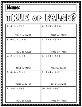 1.OA.7 True or False? Meaning of the Equal Sign