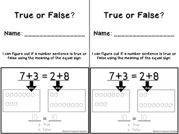 1.OA.7 - True or False Equations - Work mats, booklet, and worksheets
