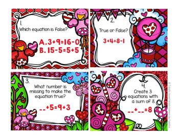 1.OA.7 Valentine Seat Scoot Class Activity- Understanding the equal sign