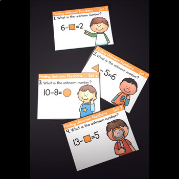 Unknown Numbers in Addition and Subtraction Equations First Grade Task Cards