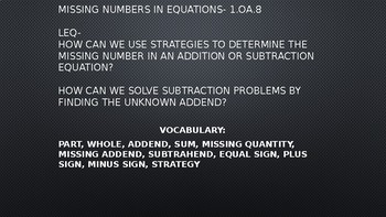 1.OA.8 Missing Number in Equations Part-Part-Whole  Powerpoint