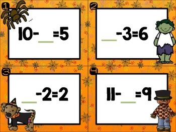 1.OA.B.4 Subtraction With Missing Addend/Number Scoot & More!