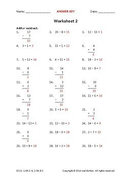 1.OA.C.6, 2.OA.B.2: Add and subtract within 20 (50 worksheets)
