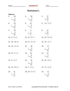 1.OA.C.6, 2.OA.B.2: Subtract within 20 (50 worksheets)
