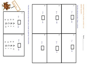 1.OA.D.8 Find the Missing Number Math Assessments