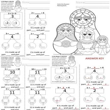 1.OA.D.8 Matryoshka Russian Nesting Dolls Math SPED/ID/SLD/ESL