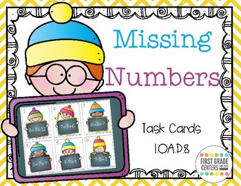 1.OA.D.8 Winter Missing Numbers Task Cards {Freebie}