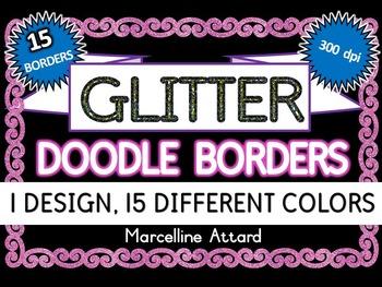 GLITTER FRAMES: GLITTER BORDERS IN 15 COLORS: GLITTER CLIPART FRAMES