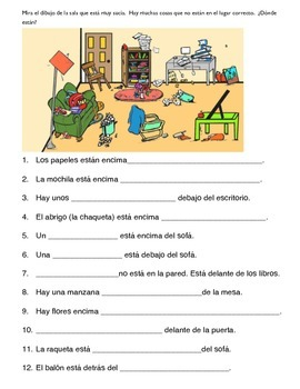 1 PAGE WORKSHEET PREPOSITIONS SPANISH WITH PICTURE