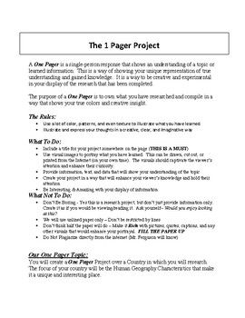 1 Pager Project - Country Research (rubric included)