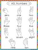 1 Printable Rainbow Border ASL Numbers Wall Chart Posters.