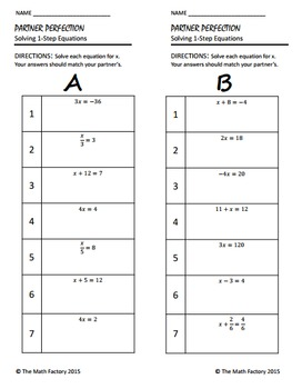 One Step Equations Differentiated Self-Checking Partner Worksheet