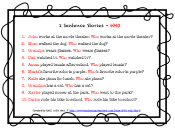Updated 9/1/16! Auditory Working Memory:1 Sentence Stories and WH Questions