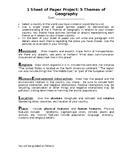 1 Sheet of Paper Project: 5 Themes of Geography