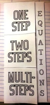 1 Step, 2 Step and Multi-Step Algebraic Equations Foldable
