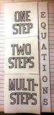 1 Step, 2 Step and Multi-Step Algebraic Equations Foldable