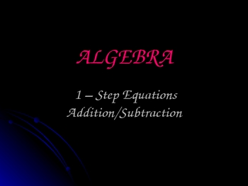 1 Step Addition Subtraction Equations