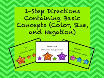 Following Directions: 1-Step Containing Basic Concepts (Color, Size, Negation)