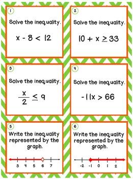 1-Step Equation & Inequality Task Cards {Bundle}