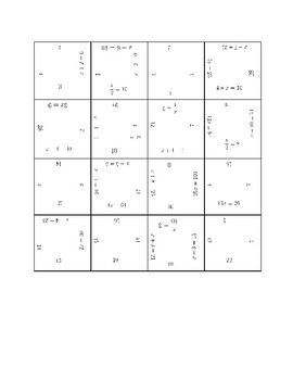 1 Step Equation Fun Square Puzzle Activity (positives only)