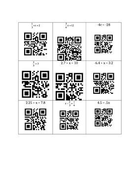 1-Step Equation QR Code Task Cards