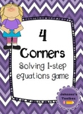 1 Step Equations - 4 Corners Game Math Activity